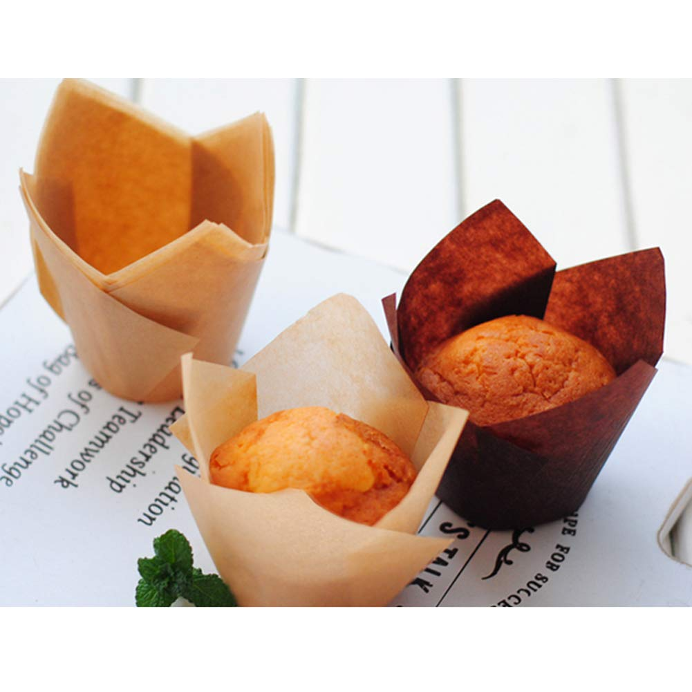 200 Pack of Oil-Proof Tuilp Cupcake Wrapper liner Baking Cups for Wedding Birthday Party Decorations,Natural Color