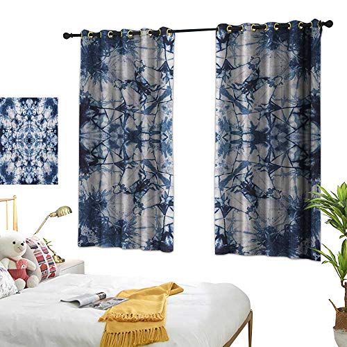 Warm Family Linen Curtains Psychedelic,Old Fashion Kaleidoscope Loose Unfold Motley Pattern with Inner Outer Layers,Indigo Grey 72