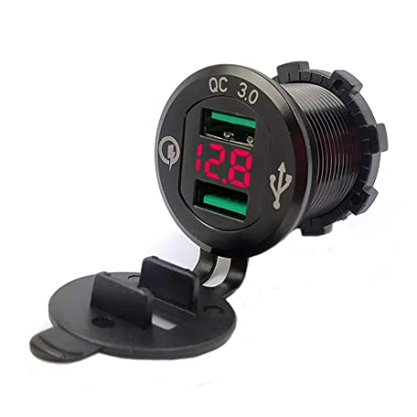 GreatWall 9V 12V Cargador para automóvil Socket QC3.0 Puerto USB Volt DisplayBlack Shell Rojo Lámpara Negro Rojo Luz LED