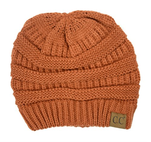 (Plum Feathers Soft Stretch Chunky Cable Knit Slouchy Beanie Hat (Rust))