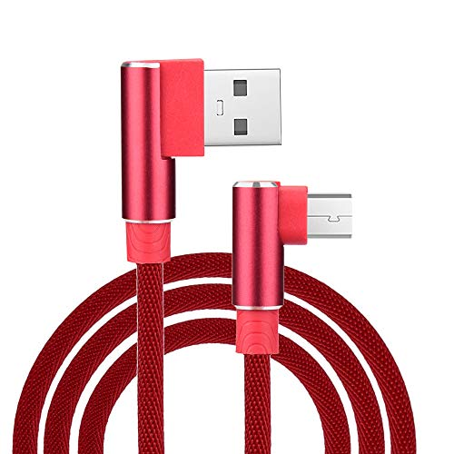 Micro USB 3.3ft Right Angle L Shape V8 USB 2.0 Charging Data Linen Cable for Samsung Kindle HTC, Motorola Nokia LG Android Smartphones Galaxy S7 Edge J7 Note 5 MP3 Tablet Sony (Red)