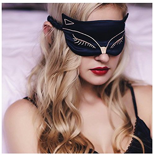 Cute Eye Mask for Sleeping - Natural Silk Sleep Mask & Blindfold for Women & Girls - Sexy Fox Night Eye Shade / Cover - Smooth Soft and Comfortable Sleeping Aid - Adjustable Strap by Meeteasy