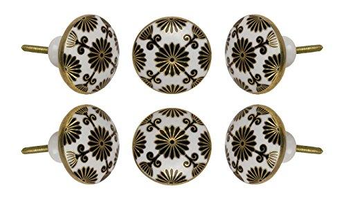 Set of 6 Ceramic Tunis Cabinet Drawer Knobs Premium Quality Cupboard Dresser Door Pull Decorative Furniture Hardware by Trinca-Ferro ()