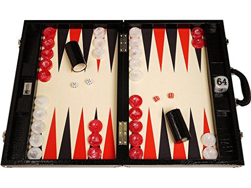 Wycliffe Brothers Tournament Backgammon Set - Black Croco Board with Cream Field - Gen III