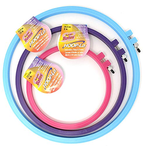 (Susan Bates Hoop-La Plastic Embroidery Hoops: 3-pc. Bundle, Assorted Sizes Include 6-in, 8-in, 10-in)