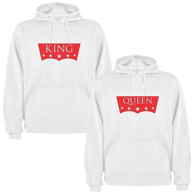 Pack de 2 Sudaderas Blancas para Parejas King II y Queen II Rojo (Mujer Tamaño