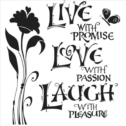 Crafters Workshop Template, 6 by 6-Inch, Live, Love and Laugh (Live Laugh Love Paint Stencil)