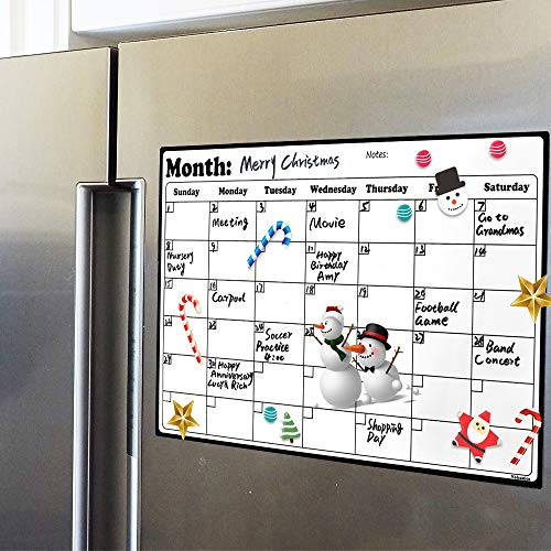 (Fridge Calendar Magnetic Dry Erase Calendar Whiteboard 2019-20 Calendar for Kitchen Refrigerator Smart Planners 16.9