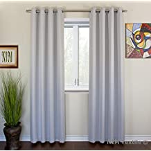 "NIM Textile Grommet Curtains Thermal Insulated Blackout Drapes, 110""W x 84""L, 2-Panels Set, White Gray, Sofiter Collection"