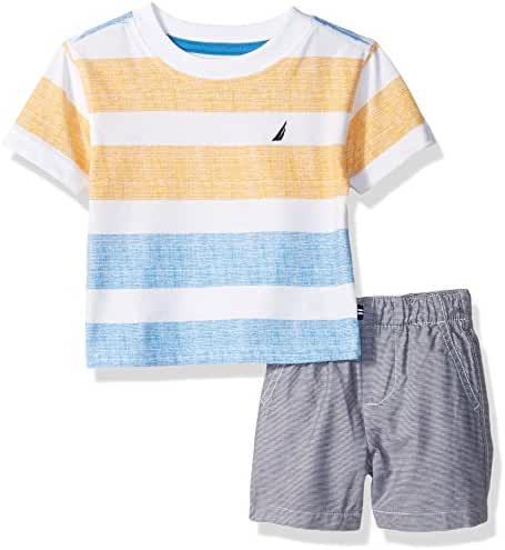 Nautica Baby Boys' Striped Tee and Pull on Short Set