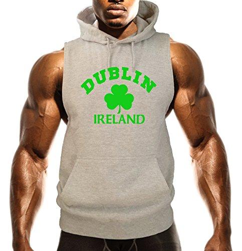 Men's Dublin Ireland V507 Gray Fleece Vest Hoodie 2X-Large Gray