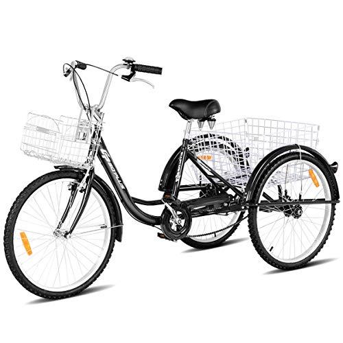 Goplus Adult Tricycle Trike Cruise Bike Three-Wheeled Bicycle with Large Size Basket for Recreation, Shopping, Exercise Men's Women's Bike (Black, 24' Wheel)