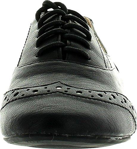 Beperkte Dames Savoy Oxford Flats Schoenen Zwart