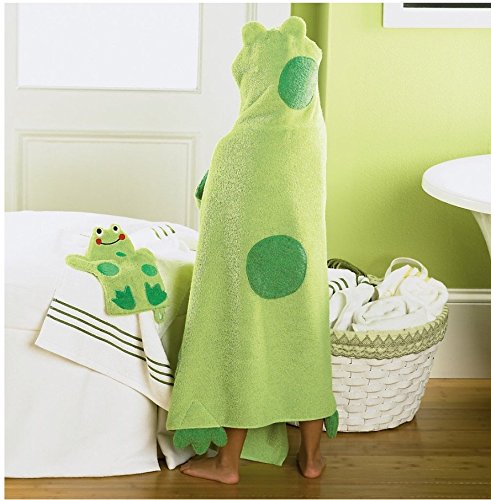 Jumping Beans Frog Hooded Bath Towel, in Green