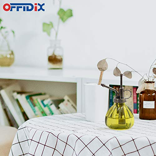 """OFFIDIX Plant Mister,Glass Spray Bottle Small Watering Can Indoor 6.3"""" Tall Vintage Pumpkin Style Plastic Top Pump One Hand Mister Spray Bottle for Indoor Potted Plants (Olive Green) 6"""