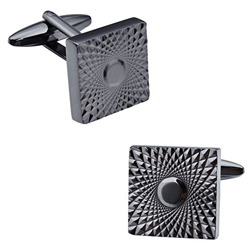 Link Costume Uk (HAWSON Mens Cuff Links Black Gun Tone Flower Pattern Copper Cufflinks)
