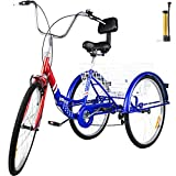 Bkisy Tricycle Adult 24'' 7-Speed 3 Wheel Bikes for Adults Three Wheel Bike for Adults Adult Trike Adult Folding Tricycle Foldable Adult Tricycle 3 Wheel Bike Trike for Adults