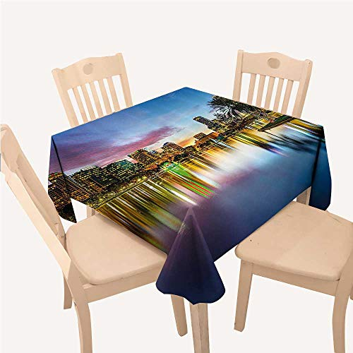 Wide Tap Square Tablecloth Famous USA Urban Downtown View of Orlando Florida from EOLA Lake Romantic SceneBlue Yellow Square Tablecloth W70 xL70 -