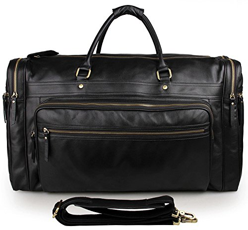 ZM Mens Crazy Horse Leather Travel Duffel Bag Boarding Luggage 7 Style optional (23''L x 9'' D x 14'' H weight :6.61lb) by ZM