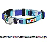 Pawtitas Multicolor Dog Collar Puppy Collar Pet Collar Multicolor Dog Collar Large Dog Collar Blue/Yellow / White/Teal Dog Collar