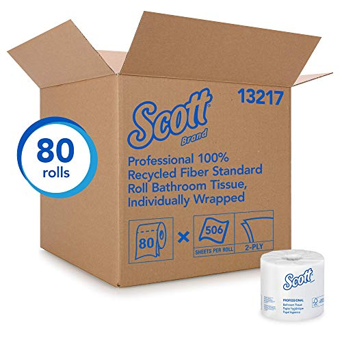 Fiber 1 Ply Recycled (Scott Essential Professional 100% Recycled Fiber Bulk Toilet Paper for Business (13217), 2-PLY Standard Rolls, White, 80 Rolls / Case, 506 Sheets / Roll (Renewed))