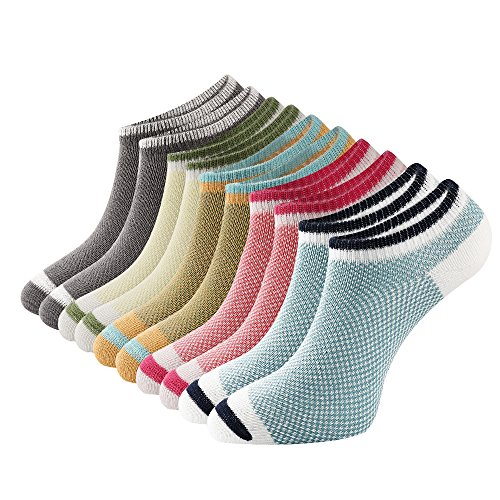Womens No Show Socks Low Cut Athletic Short Cotton Socks Casual Mesh Crew Ankle Socks 5Pack (Mesh-knit Design-5Pack)