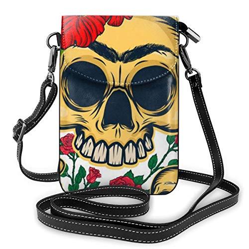 Hdadwy mobiltelefon crossbody väska dödskallar och blommor kvinnor PU-läder mode handväska med justerbar rem