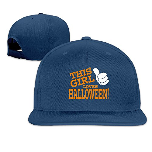 Runy Custom This Girl Loves Halloween Adjustable Baseball Hat & Cap Navy