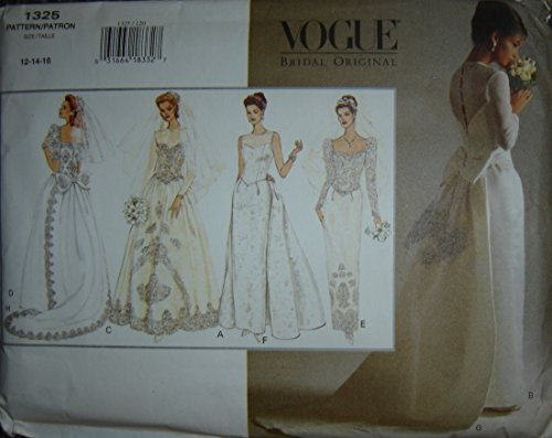 Vogue Bridal Original Sewing Pattern #1325; Misses' Wedding Dress w/Detachable Train, Sz. 12/14/16