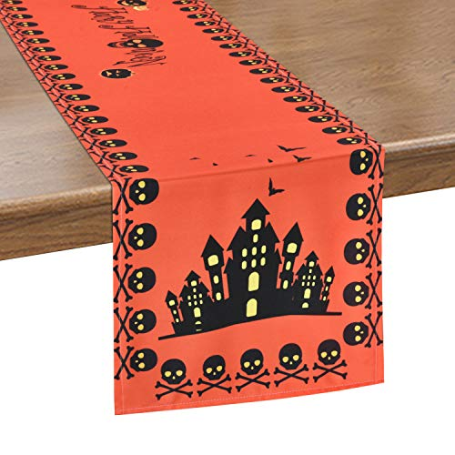 Alishomtll Happy Halloween Table Runner, Pumpkin Spooky Skull Table Runner Bats Haunted House Waterproof Table Runner for Scary Movie Nights, Dinner Parties, 12 x 70 inches ()
