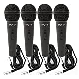 4 Peavey PV 7 ND Magnet Dynamic Microphone w/ XLR Cables
