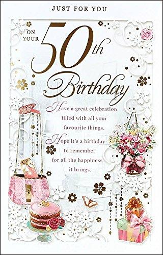 Edad 50 hembra Tarjeta de cumpleaños - 50 hoy rosa pastel ...