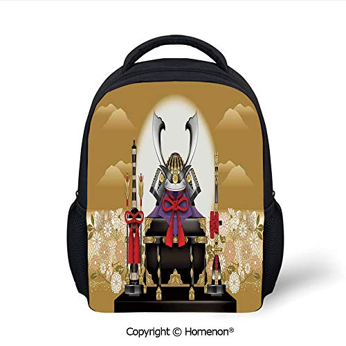 3D Antique Ornamental Box of Archer with Helmet and Arrows with Flowers at Sunset Printing Backpack Fashion Kids School Bags Bookbag,(12.2
