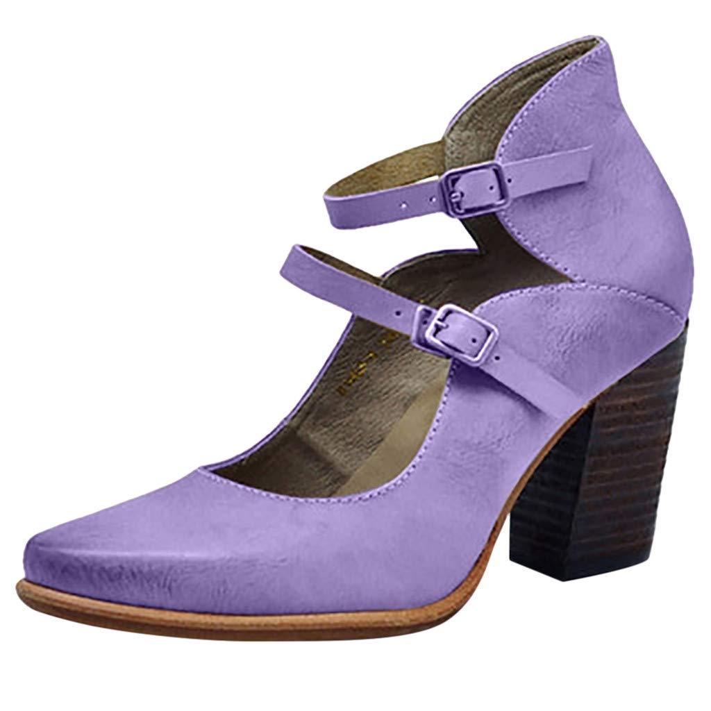 ZOMUSAR New! 2019 Fashion Retro Womens Pumps High Heel Strap Buckle Non-Slip Roman Shoes Sandals Purple