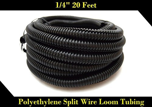 "20 FT 1/4"" INCH Split Loom Tubing Wire Conduit Hose Cover Auto Home Marine BlackMarine Black"