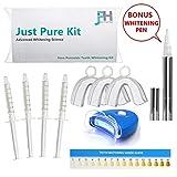 Just Pure Hut Dentist Teeth Whitening Kit - Plus BONUS FREE Advanced Teeth Whitening Pen - Zero Hydrogen Peroxide - Best Pro At Home Whitener - Natural Ingredients Gel for a white healthy smile - No b