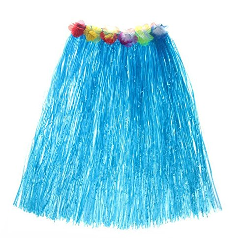 Sports Themed Fancy Dress Costumes (Women's Hawaiian Grass Skirt Flower Hula Lei Garland Fancy Dress Costume (Blue))