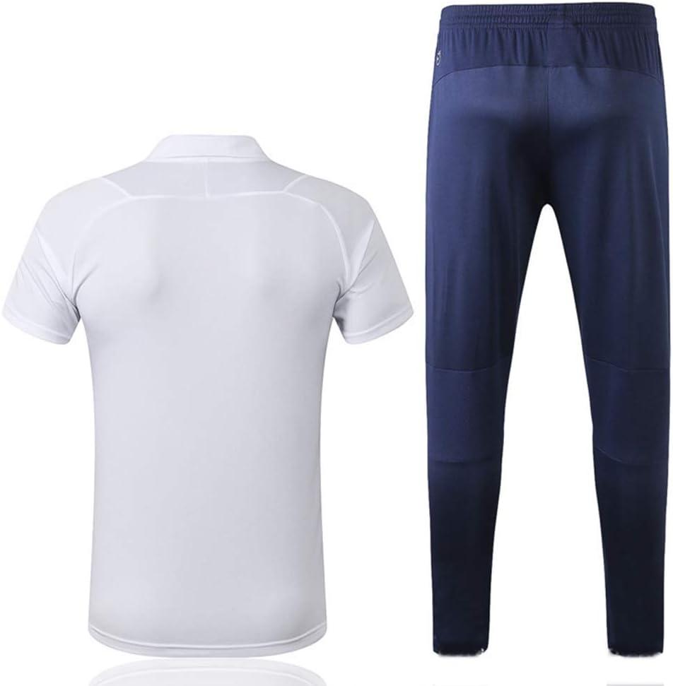 QAZWSX Ensemble De Costume Dentra/înement /à Manches Courtes pour Pantalon Blanc /à Manches Courtes Polo De Marseille Marseille Sportswear