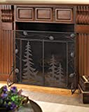 Fireplace Screens Bronze Rustic Spark Guard Flat w/ Doors Decorative Single Panel Mesh Iron Antique Screen
