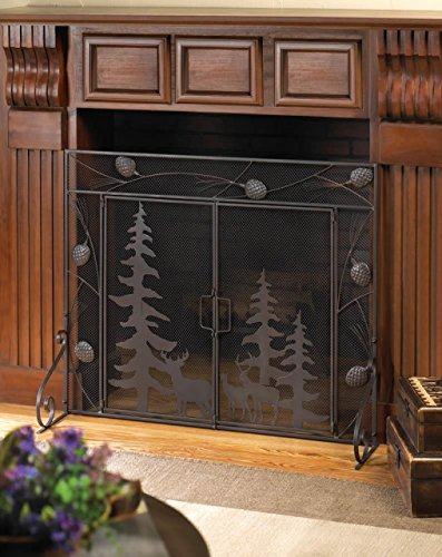 Fireplace Screens Bronze Rustic Spark Guard Flat w/ Doors Decorative Single Panel Mesh Iron Antique (Flat Fireplace Guard)