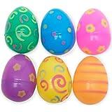 Jumbo Plastic Printed Bright Easter Eggs Pack of 12
