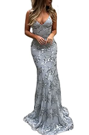 TulBridal Womens Spaghetti Straps Appliques Sequins Mermaid Evening Dresses Long Prom Gowns