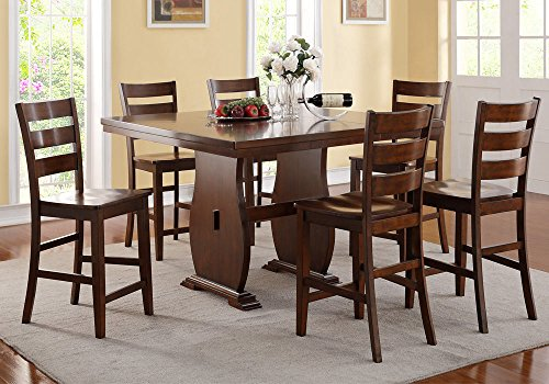 1PerfectChoice 7 pc Counter Height Dining Set Pedestal Rectangular Table Leaf Wooden Seat Chair