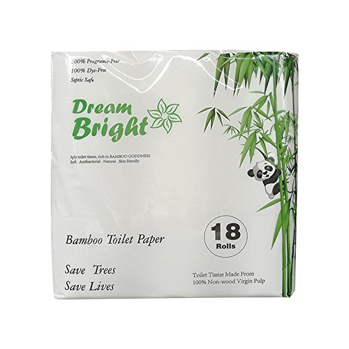 Dream Bright - High Quality Extra Soft 100% Virgin Bamboo Pulp Toilet Paper 250 X 3-ply Sheets Per Roll (18 Rolls), Eco-Friendly, Septic Safe, Chlorine Bleach Free (18 Rolls) ()
