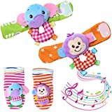 Acekid Baby Rattle,4pcs Infant Wrists Rattle and Foot...