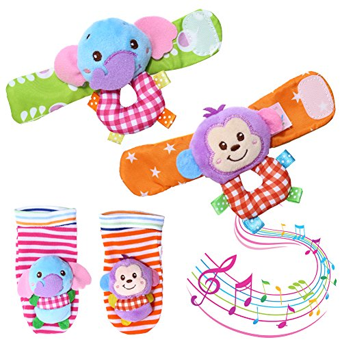 Acekid Baby Rattle,4pcs Infant Wrists Rattle and Foot Finder Socks Toys Set - Monkey and Elephant