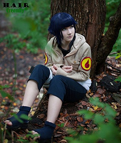 Creamily Narutos Shippuden Hinata Hyuga Purple Blue Hair Extensions Medium Short Cute Cosplay Wig
