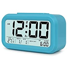 Athenalistee Smart Digital Alarm Clock,Travel Alarm Clock,Alarm Clock with Optional Backlight,Calendar,Temperature Display,Snooze Function,Easy to Set and Watch with Large LED screen,best choice for home office and travel.(Blue)