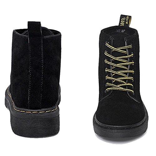 wdjjjnnnv Women Ankle Short Martin Boots Leather Suede Flat Heel Winter Warm Casual Shoelace Cotton Retro Shoes 36 zNipba71