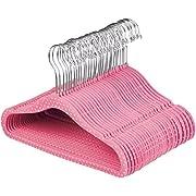 AmazonBasics Kids Velvet Hangers - 30-Pack, Pink Polka Dot